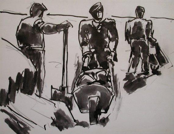 Three men with wheelbarrows, 1969