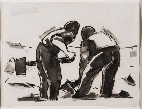 Two men with shovels, 1956