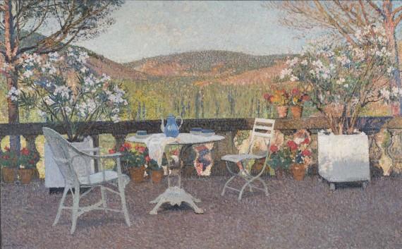 L'heure du thé sur la terrasse de Marquayrol, c.1930