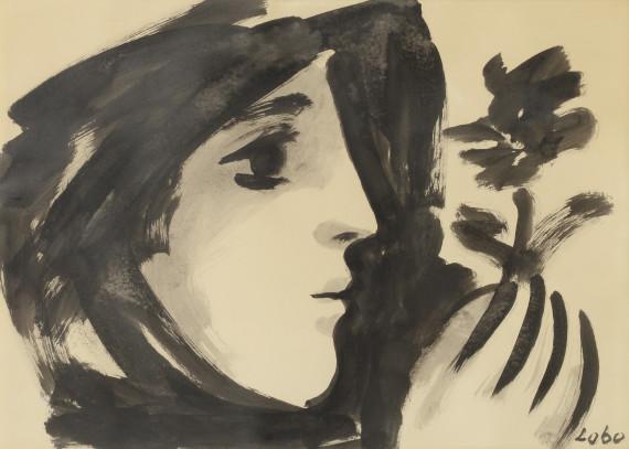 Profil de femme à la fleur, 1957