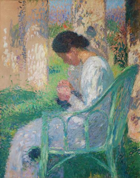 Lisette cousant, assise sous une des tounelle de Marquayrol, c.1915