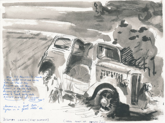 Highway Wreck drawing (First Drawings), 2013