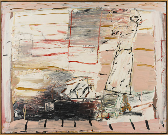 Roy Oxlade, Rose in the Fireplace (straight skirt in the fireplace), 1984