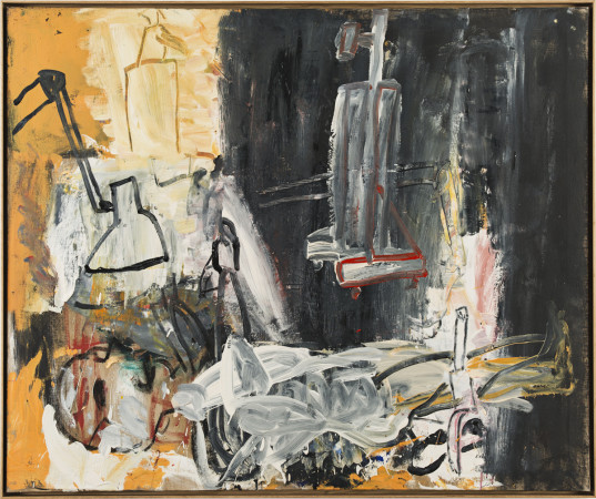 Roy Oxlade, Woman, Easel and Lamp, 1990