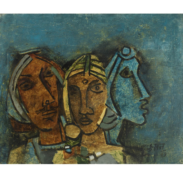 Maqbool Fida Husain - Untitled (Three Heads, Rajasthan), 1963
