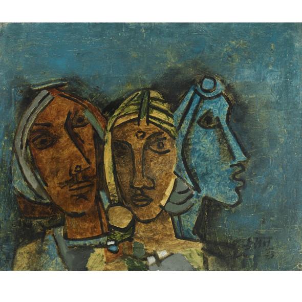 Maqbool Fida Husain - Untitled (Three Heads, Rajasthan), 1963