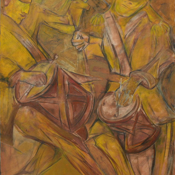 Krishen Khanna - Untitled (Bandwallas in Ochre), 2014