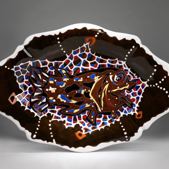 Jean Lurçat, Plate - Irregular - Brown & White - Aquarium, c. 1955