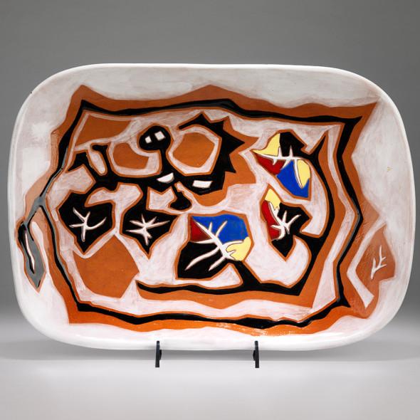 Jean Lurçat, Plate - Rectangular - Brown & White - Tree Nymph, c. 1955