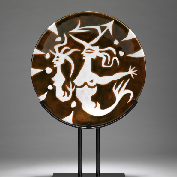 Jean Lurçat, Plate - Brown - Mermaids, c. 1955