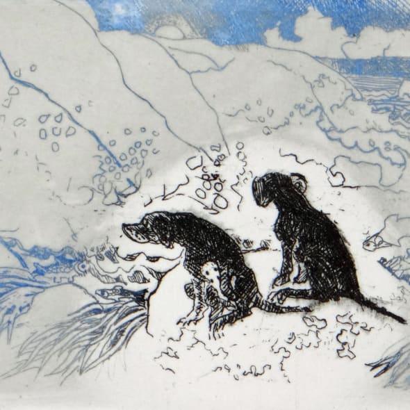 Rosamund Jones RE - Dogs on a Rock