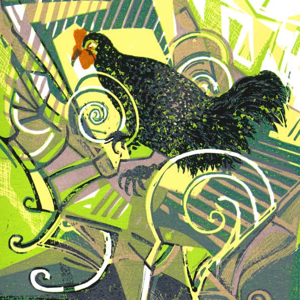Olwen Jones RWS RE - Cock-a-Doodle-Doo