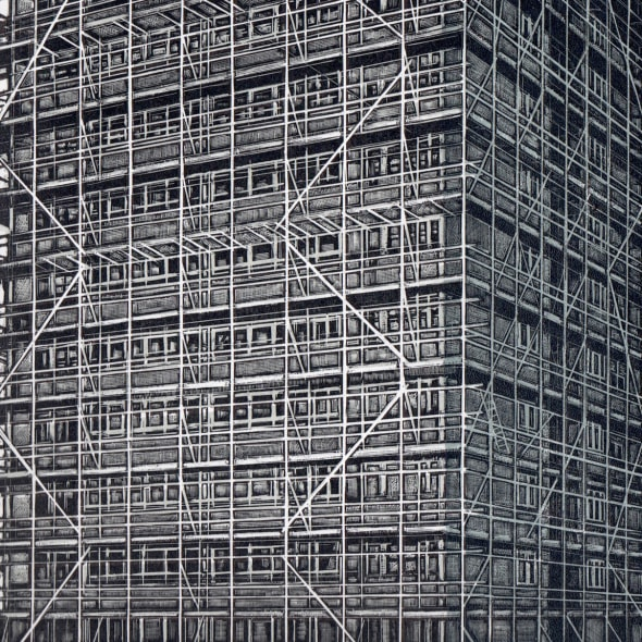 Louise Hayward RE - Scaffolding on Langford House