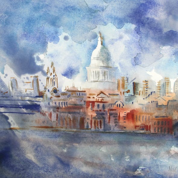Neil Pittaway RWS RE - St Paul's from Bankside