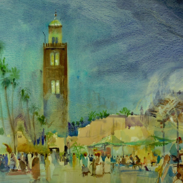 Michael Chaplin RWS RE - Marrakesh Market at Night