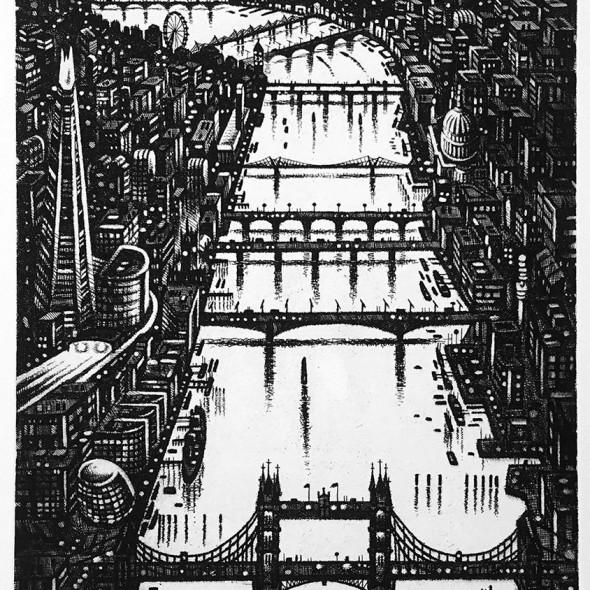 John Duffin RE - Thames Bridges - Looking West