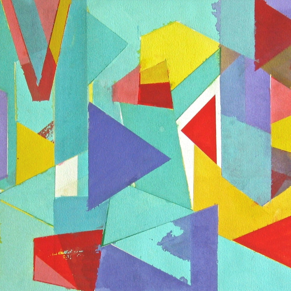 Geoffrey Pimlott RWS - Untitled Coloured Shapes Over Blue
