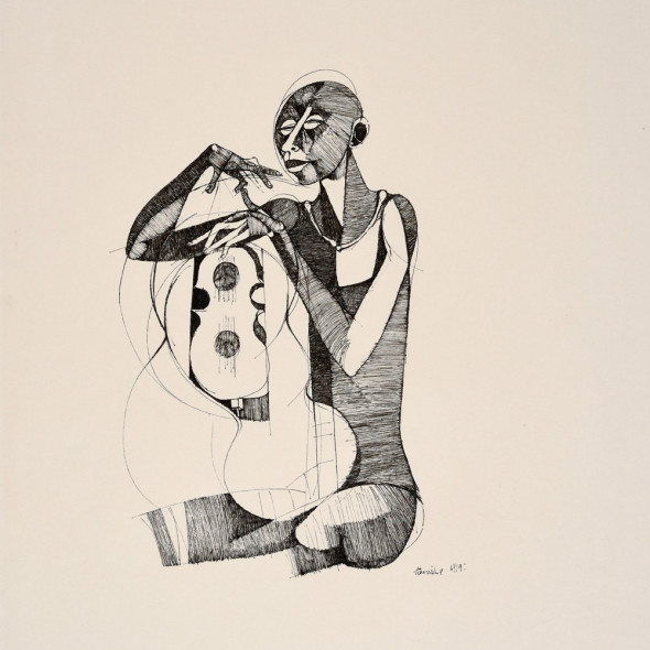 Dumile Feni - Untitled (Man and Guitar), 1969