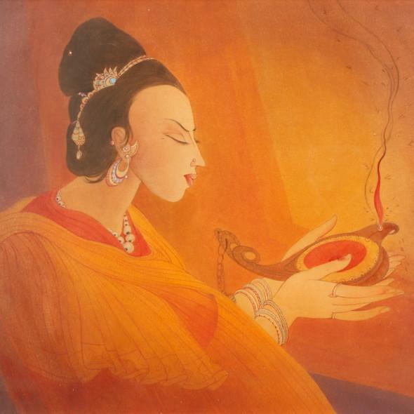 Abdur Rahman Chughtai - Maiden with an Oil lamp, c.1967