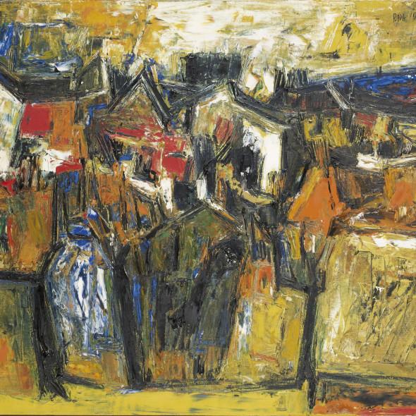 Sayed Haider Raza - Untitled (Paysage avec Maisons), 1956