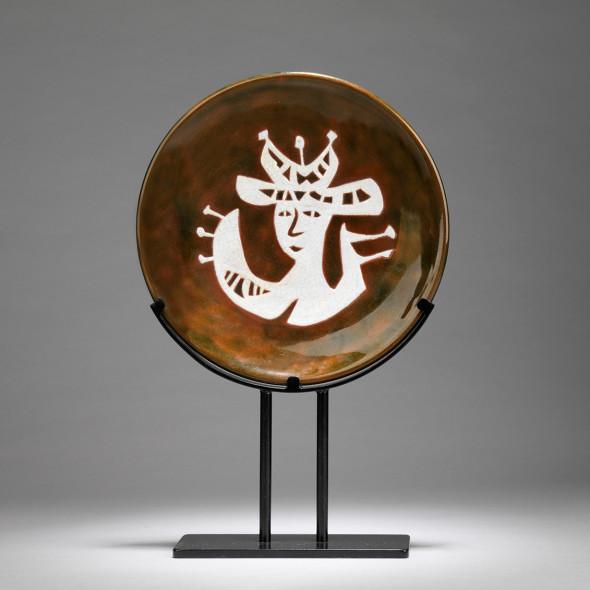 Jean Lurçat, Plate - Brown - Shaman, c. 1955