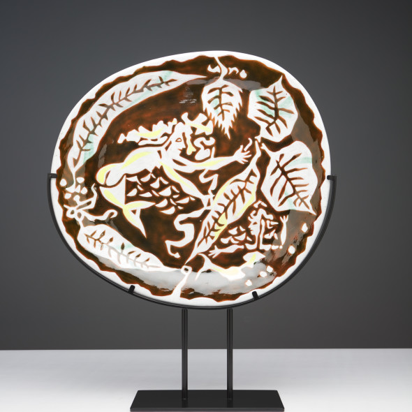 Jean Lurçat, Plate - Oval - Brown & White - Sirens, c. 1955