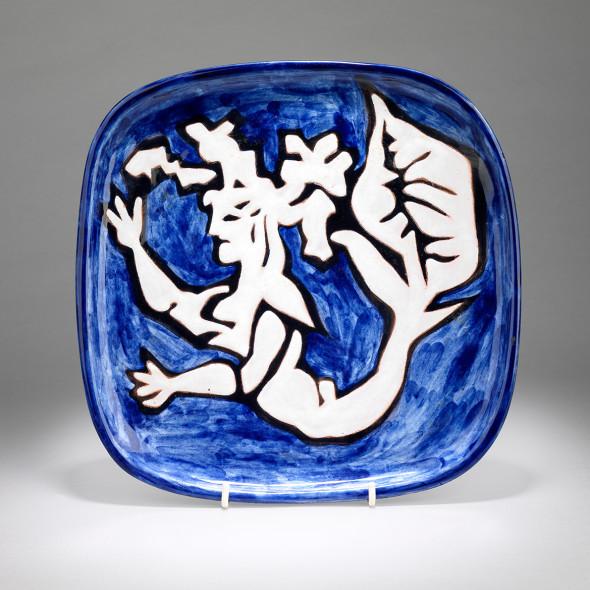 Jean Lurçat, Plate - Square - Blue - Siren, c. 1955