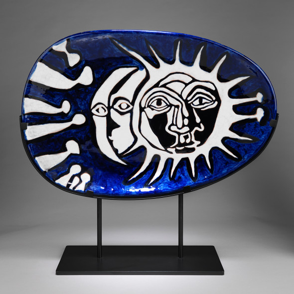 Jean Lurçat, Plate - Oval - Blue - Night and Day, c. 1955