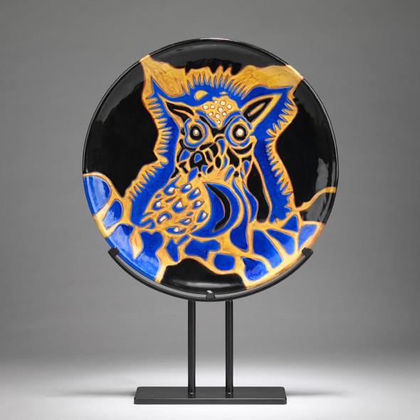 Jean Lurçat, Plate - Black - Cosmic Owl, c. 1955