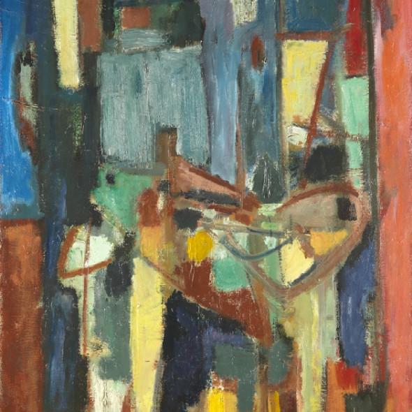 Georges Bernède, C066 - Composition 64 - 2 - Nature Morte à la Chaise Bleue, 1964