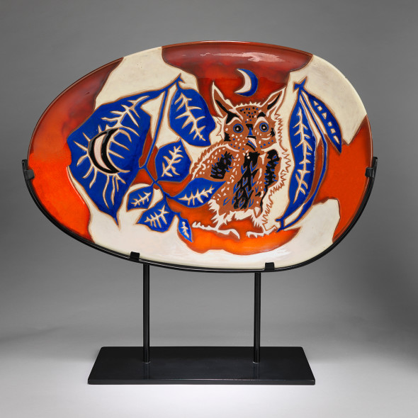 Jean Lurçat, Plate - Oval - White & Red - Night Guard, c. 1955