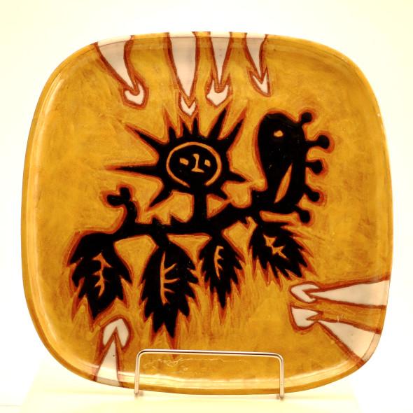 Jean Lurçat, Plate - Square - Yellow - Kodama, c. 1955