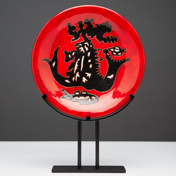 Jean Lurçat, Plate - Red - Mermaids, c. 1955