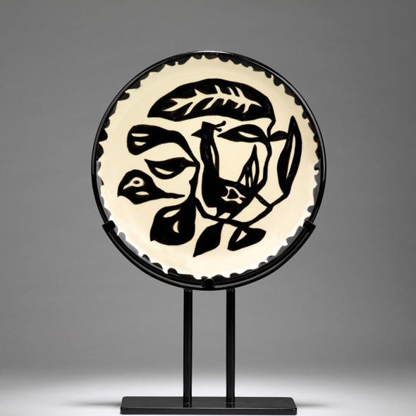 Jean Lurçat, Plate - White & Black - Dove, c. 1955