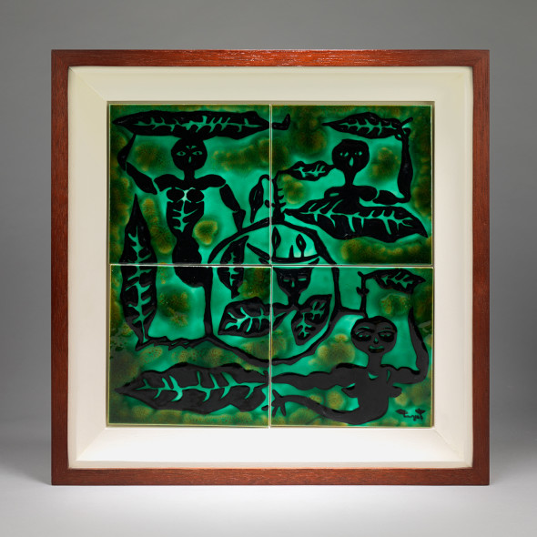 Jean Lurçat, Tile - Square - Green - Four Tiles - Spirits of Nature, c. 1955
