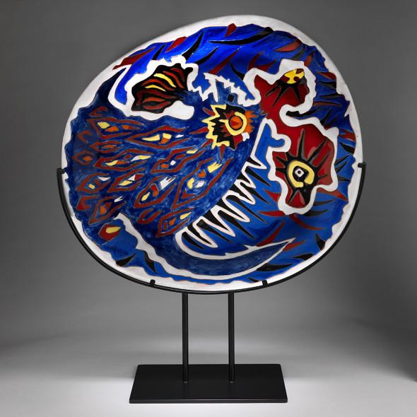 Jean Lurçat, Plate - Oval - Blue - Firebird, c. 1955