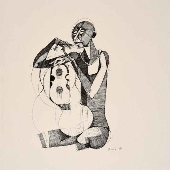 Dumile Feni - Untitled (Man and Guitar), 1969