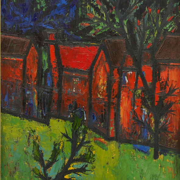 Francis Newton Souza - Red Houses with Front Garden, 1957