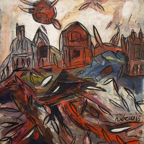 Lancelot Ribeiro - Untitled (Landscape with Red Sun), 1965