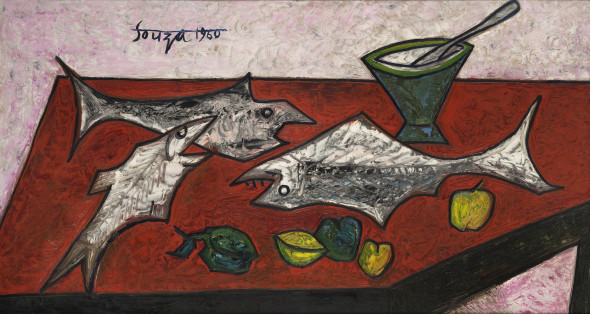 Francis Newton Souza, Still Life with Three Fishes, 1960
