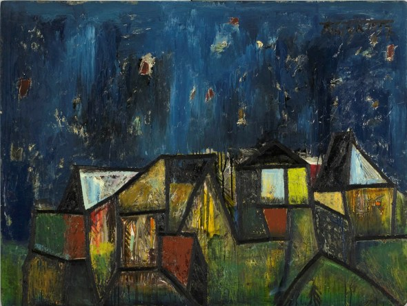 Francis Newton Souza, Quiet Houses with Sky and Planets, 1957