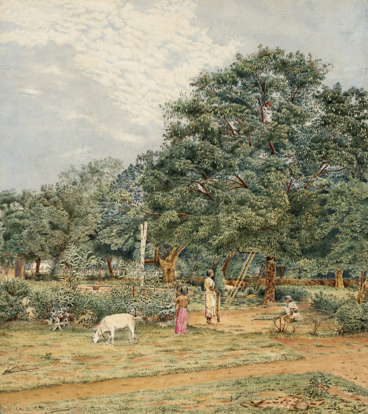 30. 19th Century British, Indian view with Fruit-pickers
