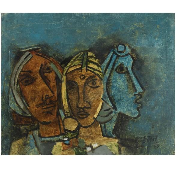Maqbool Fida Husain, Untitled (Three Heads, Rajasthan), 1963