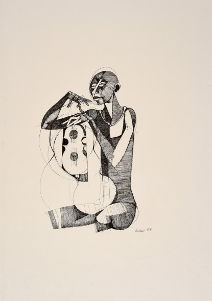 Dumile Feni, Untitled (Man and Guitar), 1969