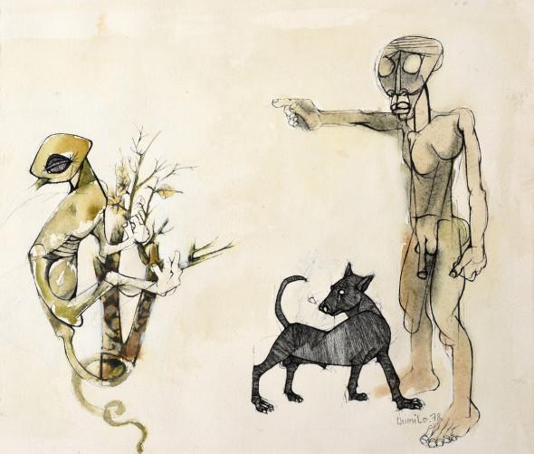 Dumile Feni, Untitled (Expulsion), 1978