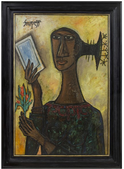 Francis Newton Souza, Woman with Flower, 1959