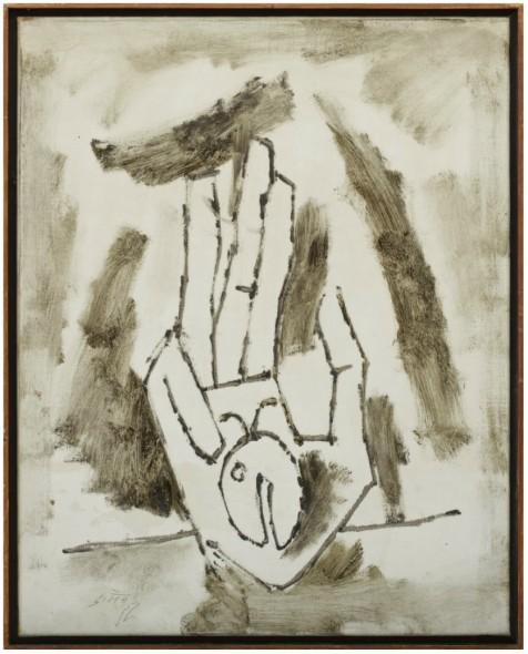 Maqbool Fida Husain, Untitled (Trishula Mudra), c.1967