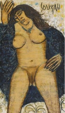 Francis Newton Souza, Blue Robe, 1961