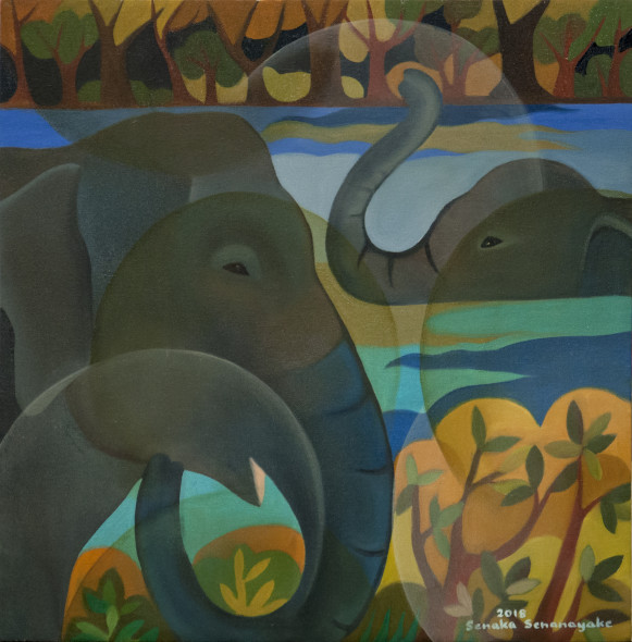 Senaka Senanayake, Bathing Elephants, 2018