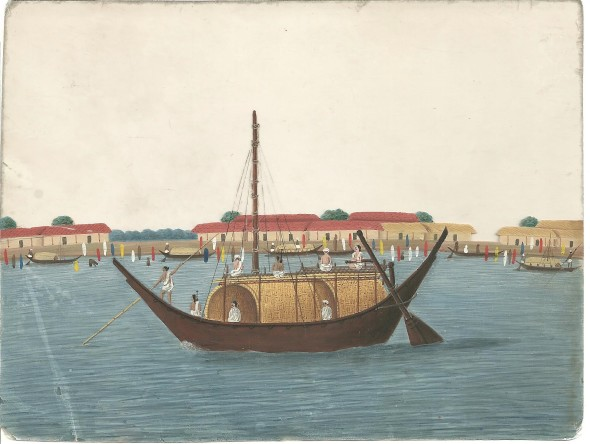 21. Three paintings on mica of Indian Views, , Circa 1840